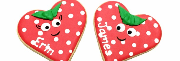 Strawberry Heart Cookies Pair